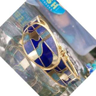 vintage Blue Guilloch 1960s bangle collected only 50+yrs old & as new from spain I think