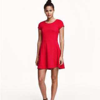 H&M Red Textured Dress