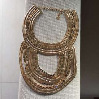 Statement Gold Bib Necklace (HeyClaire X Markkit Collaboration) Limited Edition 金色項鍊