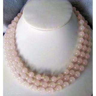 Vintage 3 Strand Rose Quartz Beaded Necklace lovely collected cond.. goldtone metal/ extension clasp