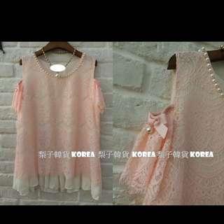 正韓粉紅蕾絲珍珠洋裝