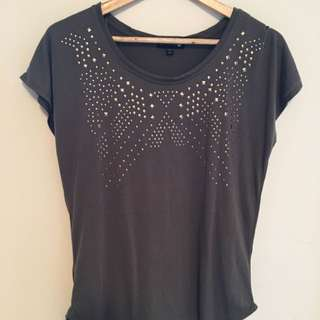 Gold Studded Khaki T Shirt