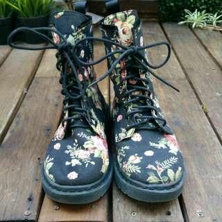 Floral Combat Boots