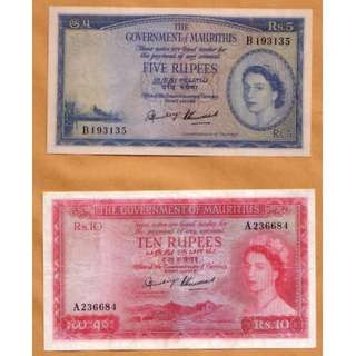 1953 and 1954 QE II Government of Mauritius 5 and 10 Rupees Pair
