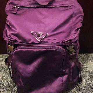 Purple satin Prada Backpack