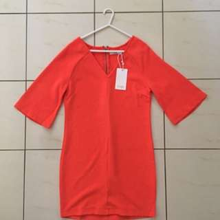 Jorge. (size 6)- Orange T-shirt Dress With Flared Sleeves
