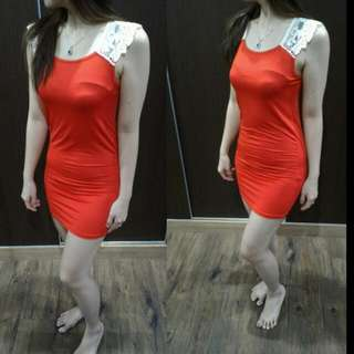 REPRICE Red Dress Bahan Lace+silk
