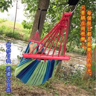 (藍色單人+紅木棒) 紅木棒帆布吊床戶外吊床學生宿舍室內專用吊床雙人戶外野營必備