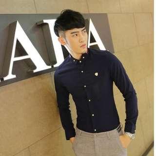 英倫男氣質撞色修身韓版長袖襯衫