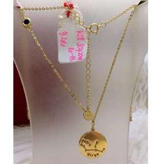 18k Japan Gold Necklace- Zodiac Virgo
