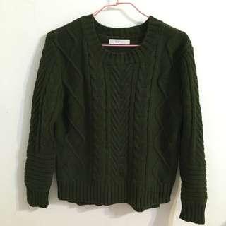 (保留)STARMIMI 墨綠色麻花針織毛衣