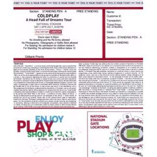coldplay tickets standing pen A (SOLD)