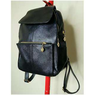 Black Faux Leather Back Pack