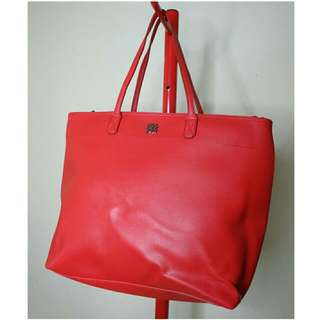 Berrybenka Red Faux Leather Tote Bag