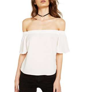 Bardot white Haiti off shoulder cold shoulder Size 8