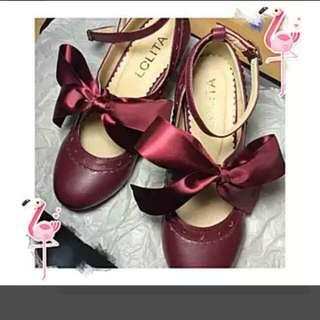 🚚 絲帶酒紅色lolita蘿莉塔鞋