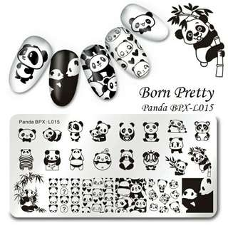 1 Pc BORN PRETTY Rectangle Nail Stamping Plate Cute Panda Manicure Nail Art Image Template BPX-L015 $10.00  stamping combo 3.8cm clear stamper and scraper $8.50 15ml stamping polish $10 Manicure Claw cotton holder $10 Peel off nail latex $7