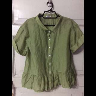 Button down Green Blouse