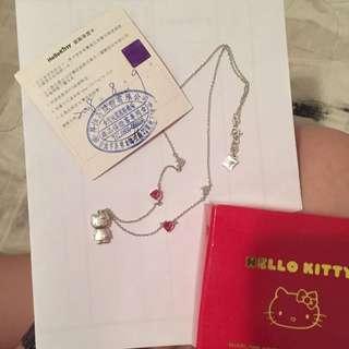 Hello Kitty 正版粉鑽白K銀項鍊