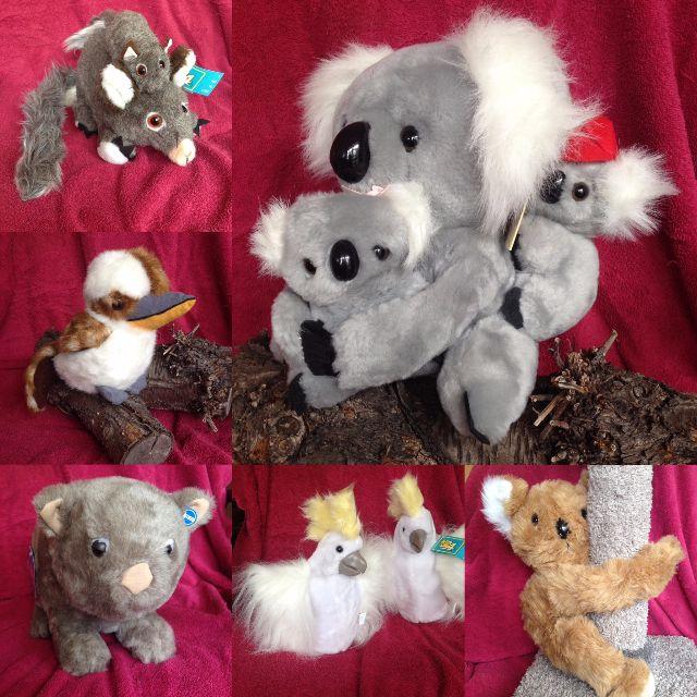 Plush Aussie animals: Koalas, Wombat, Possom w. baby etc