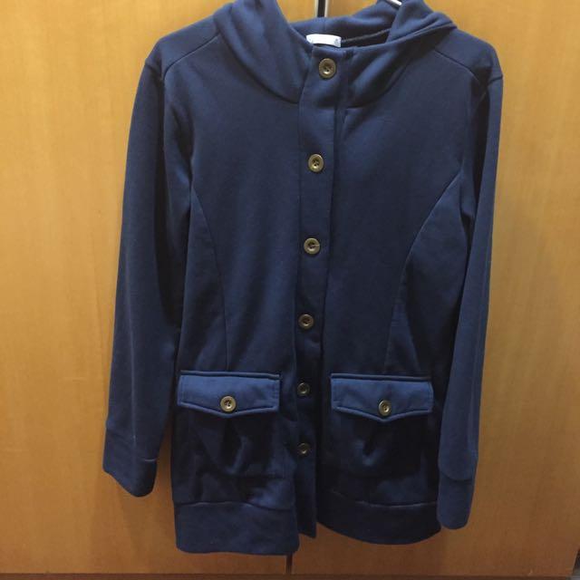 [二手]🍀衣芙日系 深藍內刷毛長大衣 #轉轉來交換