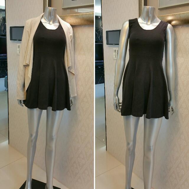 簡單黑棉連身裙