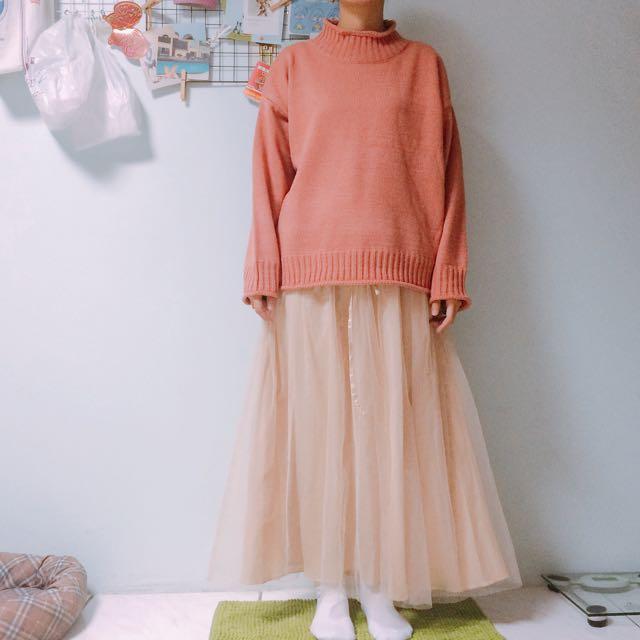 杏色長紗裙