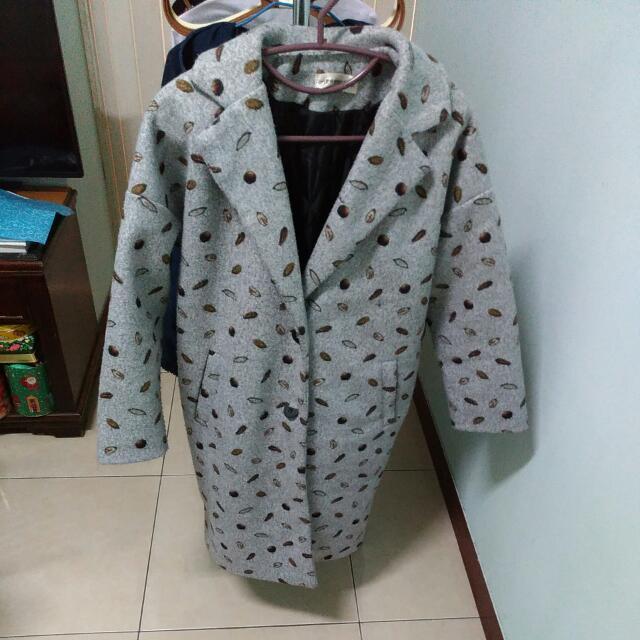 (保留)鋪棉 長版西裝外套。