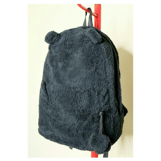 Black Faux Fur Back Pack