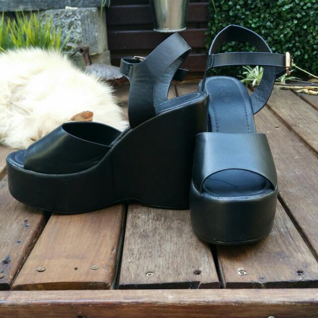 Black Wedge Heels - Rubi Shoes