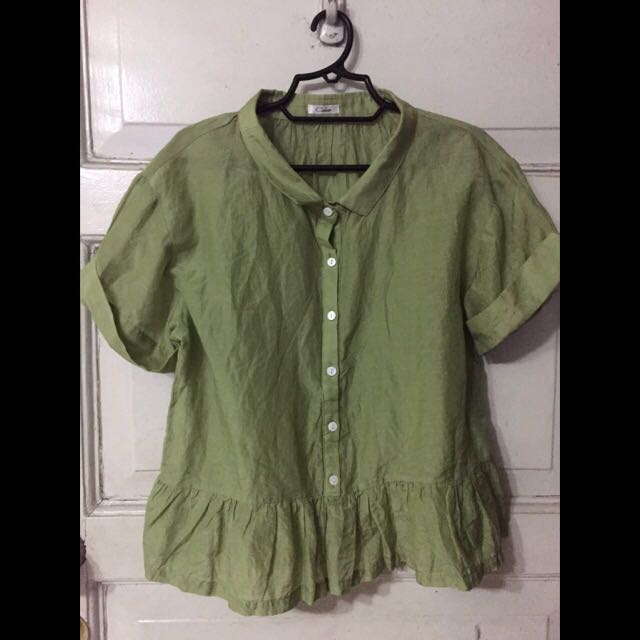 Button down Green Blouse