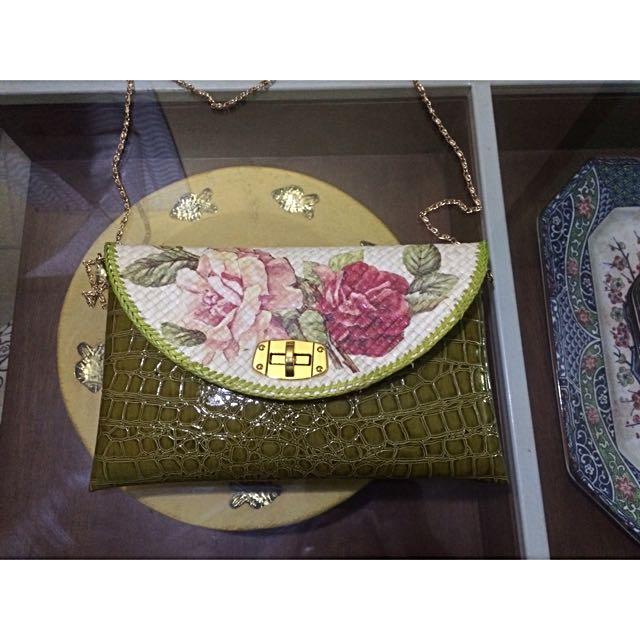 Clutch Kulit Decoupage Vintage Warna Kulit Sling Bag