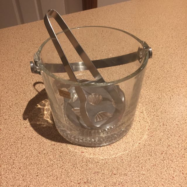 Crystal Ice Bucket With Tongs