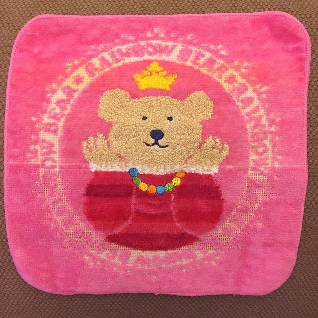 日本製海渡ETOILE 粉紅小熊手帕