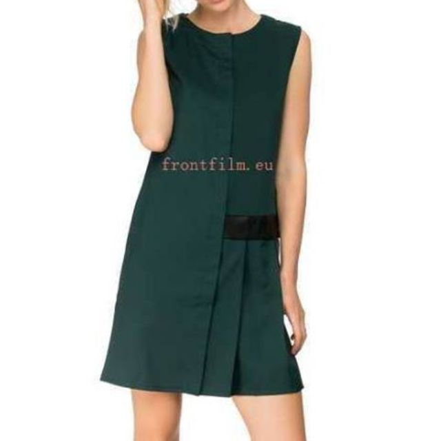 Faux Leather Waistband Shift Dress