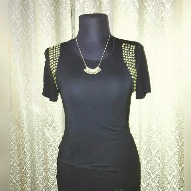 FOREVER 21 Black Studded Round Neck Loose Top