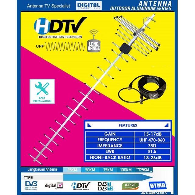 HDTV Analog & Digital TV UHF 17Es Outdoor Antenna for digital tv channels  SG / MY TV
