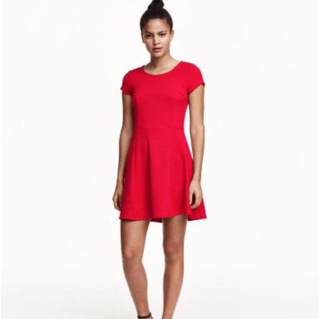 H&M Red Textured Dress