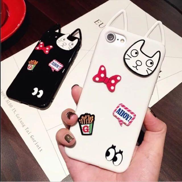 可愛貼片小貓頭iphone6s手機殼防摔軟膠蘋果7plus保護套潮女卡通