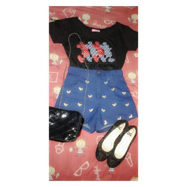 Kaos Crop Top (Atasan Only 20k) + Hotpants Import Bkk (Bawahan Only 40k)