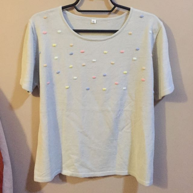 Knit Top Pastel Dots