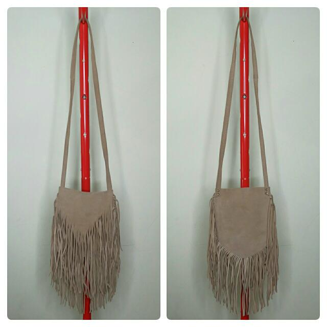 Light Brown Real Suede Fringe Sling Bag