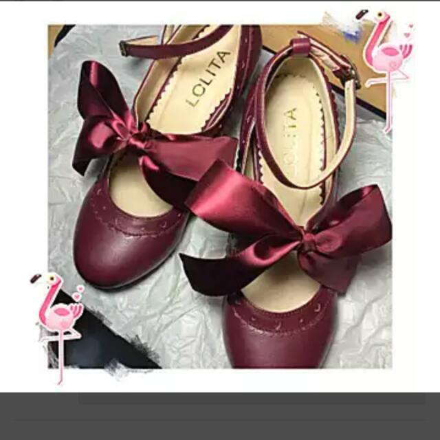 絲帶酒紅色lolita蘿莉塔鞋