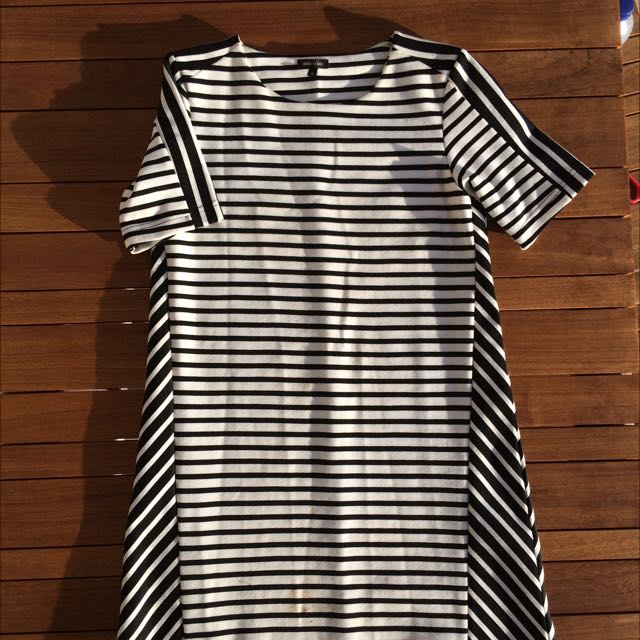Mid Length Black And White Stripe Dress