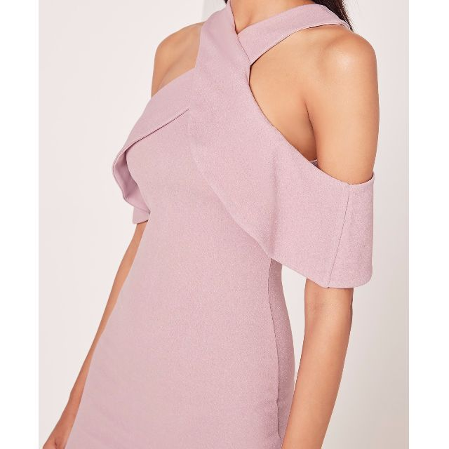 Missguided cold shoulder layered midi dress lilac Size 8
