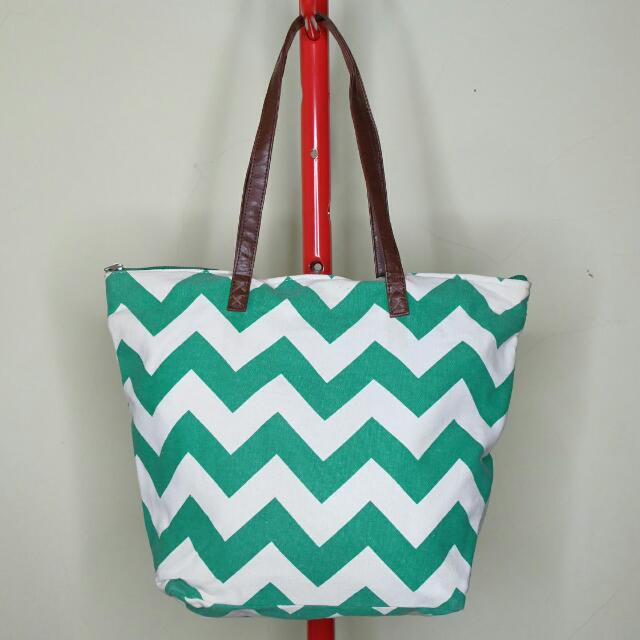 Payless White & Green Chevron Canvas Tote Bag