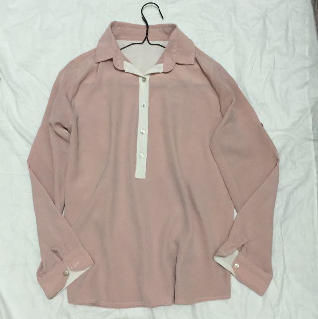 pink satine shirt