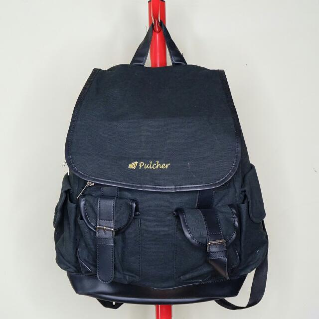 Pulcher Black Canvas Back Pack