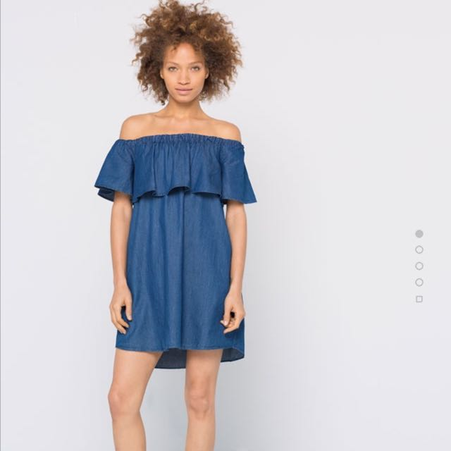 bf7902de Pull & Bear Frilled Denim Dress, Women's Fashion, Clothes, Dresses ...