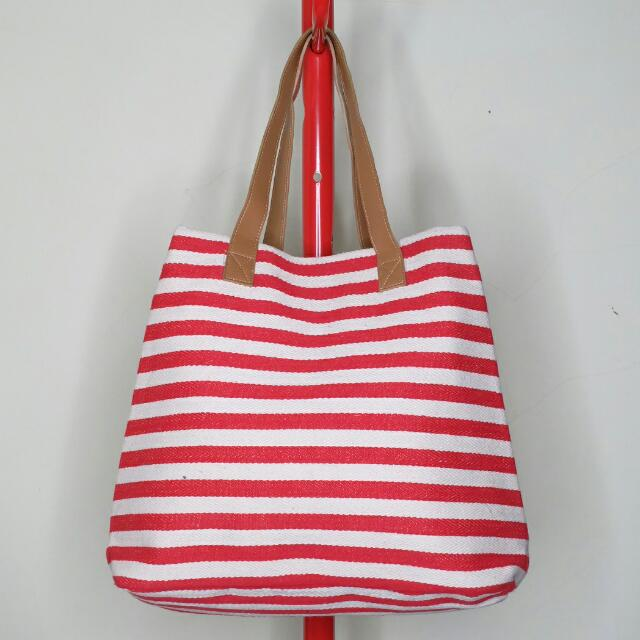 Berrybenka Red & White Stripes Canvas Tote Bag